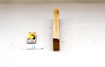38. Uferdig høvelstokk. L:236. H:61 B 24: Vinkel i seng: 45 grader. Material: Bjørk